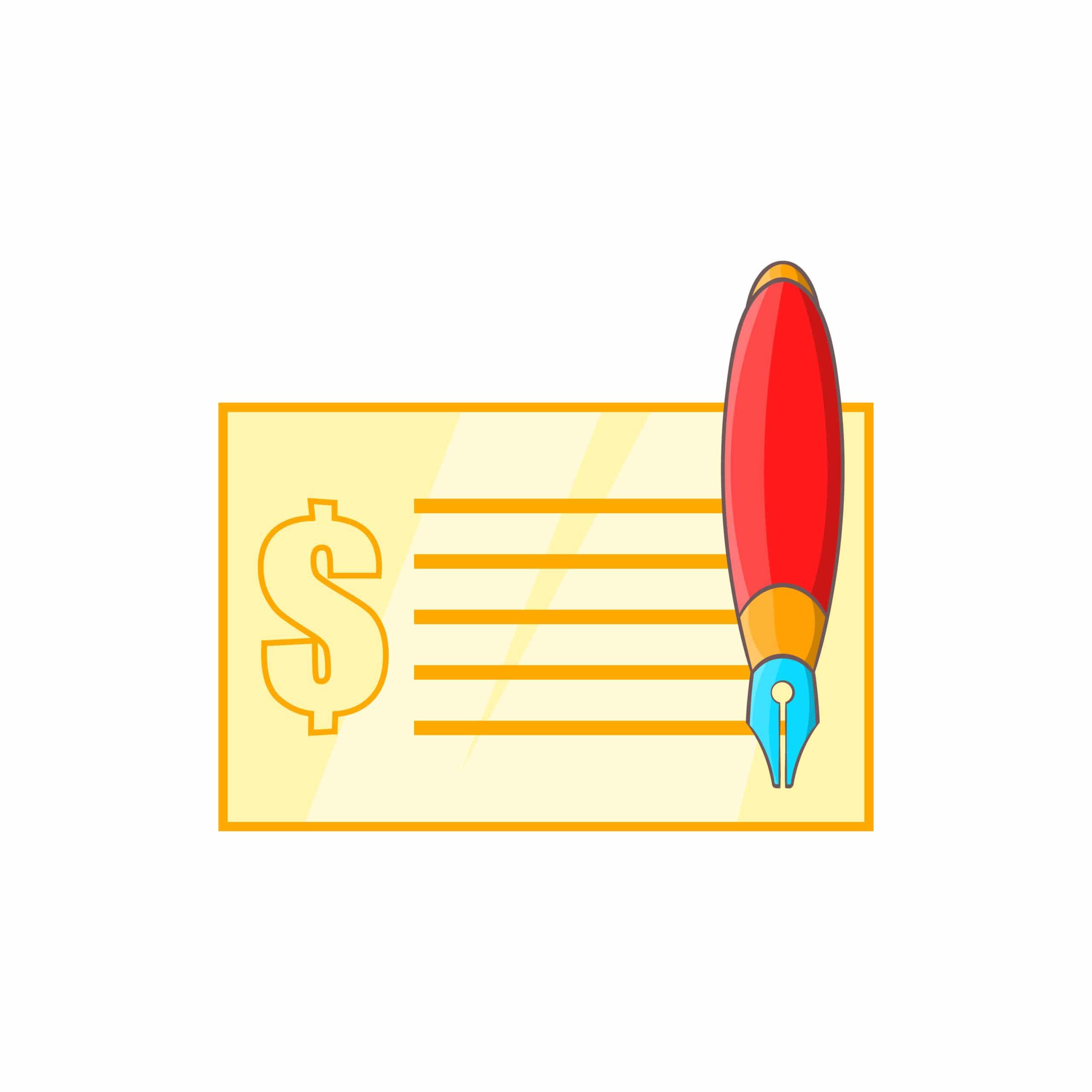 Checkbook and pen illustration