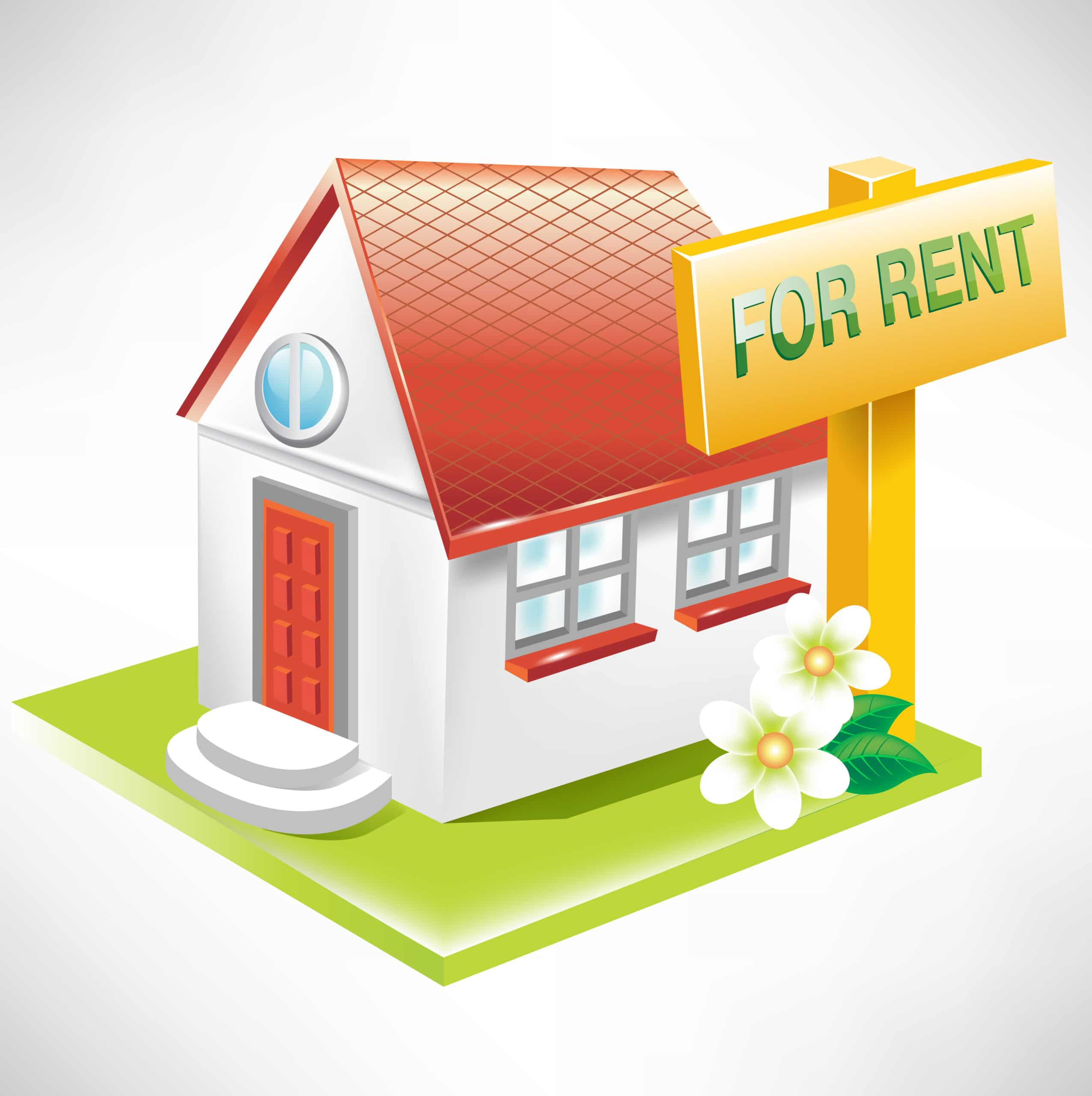 Real Estate with for rent sign